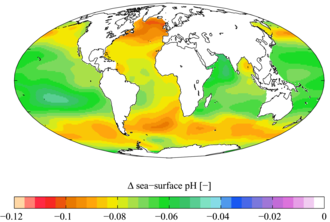 World map showing the varying change to pH across different parts of different oceans