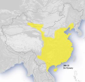 黄色为280年西晋疆域图。