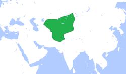 察合台汗国领域(绿色), c. 1300.