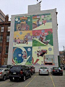 Mural of a Little Nemo in Slumberland comic in downtown Cincinnati, Ohio