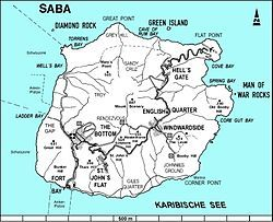 Map of Saba showing The Bottom