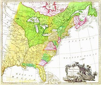 """MAP of the British North American colonies in 1777. (1) To the north is British Quebec, the French 1763 cession in green, north of the St. Lawrence River, east to the Atlantic, west to the Great Lakes, then south along the Mississippi River to its confluence with the Ohio River. (2) To the south are the Floridas, the Spanish 1763 cessions of East Florida in green (Mobile and Pensacola) and West Florida in light yellow (the Florida peninsula south of the St. John's River and east of the Apalachicola River). (3) The Atlantic seaboard colonies number ten in a way unfamiliar to the modern eye. Georgia, South Carolina, North Carolina, Virginia and Maryland are all limited west by the 1763 Royal Proclamation. Pennsylvania had a treaty west nearly to its modern border. Delaware was the same three counties ceded from Pennsylvania. New York was west only the Lake Erie midpoint where the Seneca River empties into it. The Massachusetts (and its Maine), New Hampshire, Connecticut, and Rhode Island are all labelled """"New England"""", Nova Scotia includes the island and modern New Brunswick."""