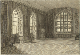 Etching of the Jerusalem Chamber, a large room with three arched windows.