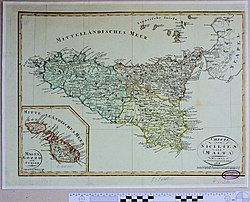 Map of Malta and Sicily, 1808
