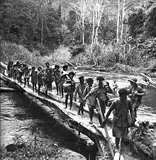 Black and white photo of Melonesian men crossing a log bridge across a river while carrying loads. A Caucasian man wearing military uniform is standing on the bridge, and two other Caucasian men are swimming in the river.