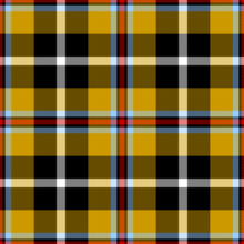 A square consisting of crossed lines of vivid colours. Yellow and black form thick, crossed lines producing large squares of colour, intersected by thinner lines of white, blue and red. The design is symmetrical and repeating.