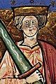 """Image of Æthelred II with an oversize sword from the illuminated manuscript """"The Chronicle of Abingdon"""""""