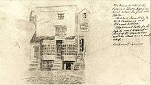 Sketch of house with two large front windows on either side of a front door and next to the steps leading up from the street to the door are two partially open cellar doors
