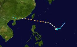 台风杜鹃的路径图
