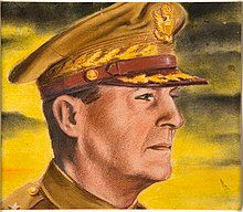 A painting of a godlike General MacArthur in his peaked cap, staring into the rising sun.