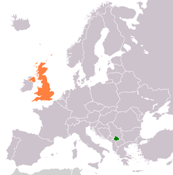 Map indicating locations of Kosovo and United Kingdom