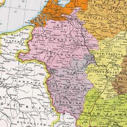 上洛林(紫色)和下洛林(粉红色),1000年