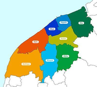 A map of Niigata's Wards