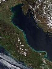 Greenish band around the Adriatic coast of Italy