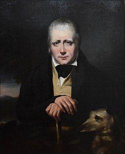 "Portrait of Sir Walter Scott and his deerhound, ""Bran"" in 1830 by John Watson Gordon"
