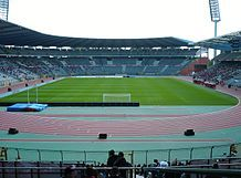 Stadium interior, photographed from the grandstand