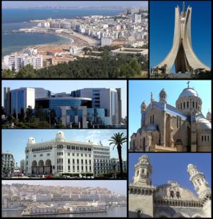 顺时针:地中海边的建筑、殉道者纪念碑、非洲圣母圣殿、凯乔娃清真寺、Casbah、大邮政局和阿尔及利亚财政部