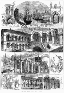 """An engraving showing at the top a sailing ship and paddle steamer in a harbour, with sheds and a church spire. On either side arched gateways, all above a scroll with the word """"Bristol"""". Below a street scene showing pedestrians and a horse-drawn carriage outside a large ornate building with a colonnade and arched windows above. A grand staircase with two figures ascending and other figures on a balcony. A caption reading """"Exterior, Colston Hall"""" and Staircase, Colston Hall"""". Below, two street scenes and a view of a large stone building with flying buttresses and a square tower, with the caption """"Bristol cathedral"""". At the bottom views of a church interior, a cloister with a man mowing grass and archways with two men in conversation."""