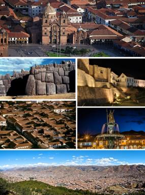 从上顺时针方向开始:阿马斯广场、鸟瞰城市、库斯科大教堂、萨克塞瓦曼、太阳神殿