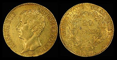 Depicted as First Consul on the 1803 20 gold Napoléon gold coin