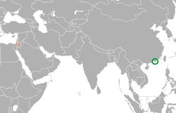 Map indicating locations of Hong Kong and Israel