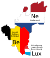 Benelux countries with flag colours