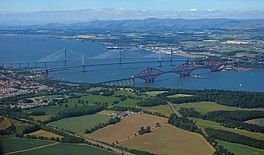 A view of the firth with three metal bridges across it