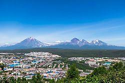 Aerial view of Petropavlovsk-Kamchatskiy with the Koryaksky volcano