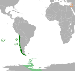 Map indicating locations of Chile and Palestine