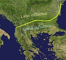 Map of southeastern Europe, delineating Roman and Greek influence