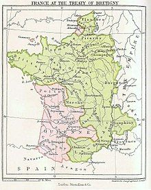 Map showing 14th-century France in green, with the southwest and parts of the north in pink
