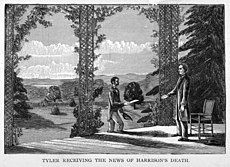 """An illustration:Tyler stands on his porch in Virginia, approached by a man with an envelope. Caption reads """"Tyler receiving the news of Harrison's death."""""""