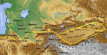 Map from Turkmenistan to Tien-Shan