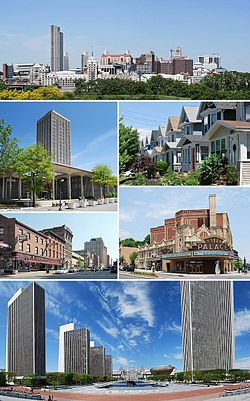 """A medley of different scenes to represent the diversity of the city. At top is a photo of the city's skyline, juxtaposing modern towers from the 1960s with older buildings dating back to the 19th century. Above center, right shows cookie-cutter, single-family houses, all two-stories with porches. Below center, right shows the marquee of a buff- and red-brick theater; marquee reads """"PALACE"""". Bottom is a panoramic view of an open courtyard split by reflecting pools and surrounded by four modern, glass and concrete towers on left and one taller tower on right; in center is a Romanesque, granite, five-story capitol building. Below center, left shows a city street populated with old brick buildings. Above center, left shows a modern, glass and concrete tower surrounded by a shorter building of the same style."""