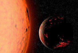 暗灰色与红色的球面代表地球,橘色的圆形物体代表太阳,地球位于太阳右侧的黑色背景中