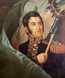 圣马丁举起阿根廷国旗的肖像画