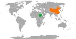 Sudan和China在世界的位置