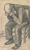 A drawing of an old man who sits on a chair with his head in his hands