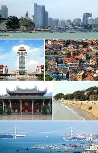 厦门景象: 中央商务区、厦门大学、鼓浪屿建筑群、南普陀寺、鼓浪屿海滩、海沧大桥