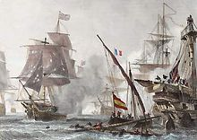 Painting of a naval battle with British, French and Spanish ships exchanging cannon fire