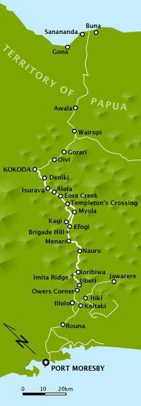 A map of the Kokoda Track