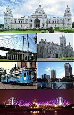 由上方顺时针:维多利亚纪念堂、圣保罗座堂、中心商业区、豪拉大桥、城市铁轨、维迭萨伽尔大桥