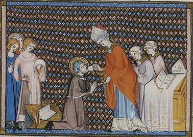 Enluminure représentant Saint Louis agenouillé, recevant l'Eucharistie des mains d'un évêque.