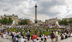 Trafalgar Square temporarily grassed over
