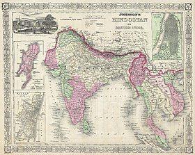 1864 Johnson's Map of India (Hindostan or British India) - Geographicus - India-j-64.jpg