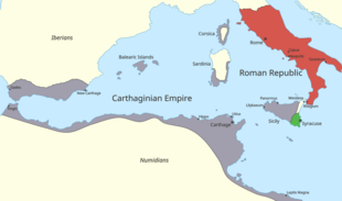 A map of the western Mediterranean showing the territory controlled by Carthage and Rome at the start of the First Punic War.