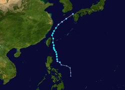 强热带风暴康妮的路径图