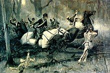 A R.F. Zogbaum scene of the Battle of Fallen Timbers includes Native Americans aiming as cavalry soldiers charge with raised swords and one soldier is shot and loses his mount