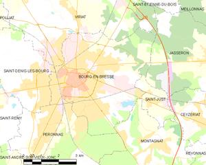 布雷斯地区布尔格市镇地图