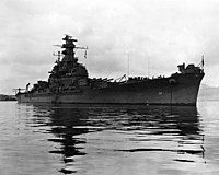 USS South Dakota (BB-57) anchored in Hvalfjörður, Iceland, on 24 June 1943 (NH 97265).jpg